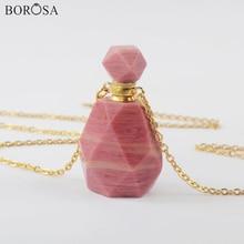 Natural Rhodochrosite Perfume Oil Bottle Necklace Gold Plating Gems Stones Essential Oil Pendant Connector for Women PB001-8 недорого