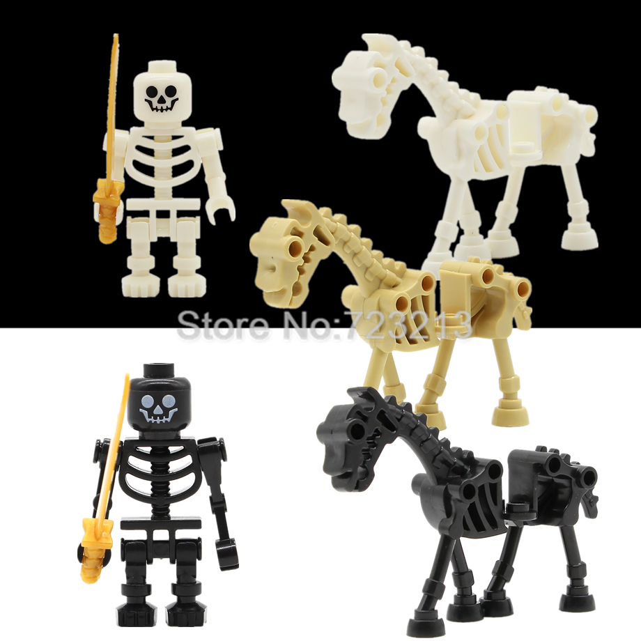 Single White Black Skeleton Knight Horse Figure Skull Castle Knights Army Model Ninja Set Building Blocks Kit Brick Toys Legoing