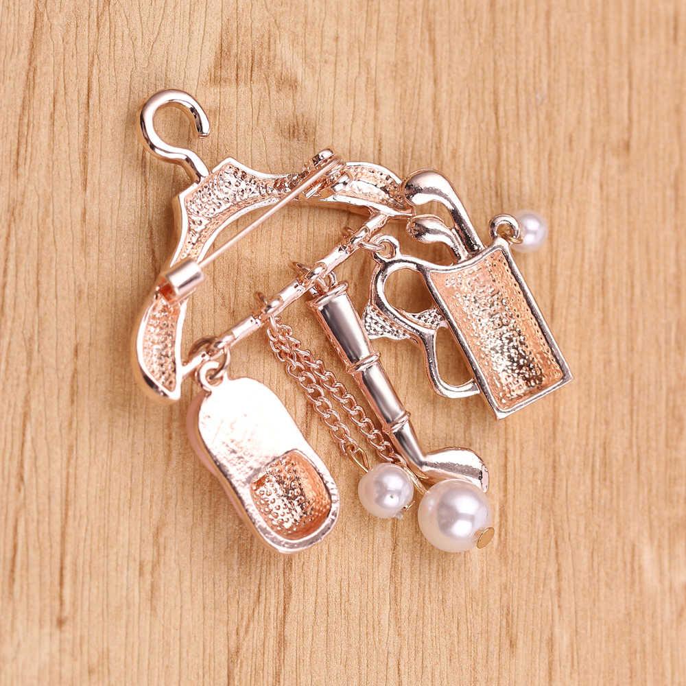 MINI Coat Hanger Shining คริสตัลเพิร์ลเข็มกลัดผู้หญิงเข็มกลัด Pins แฟชั่นเครื่องประดับ Bijouterie แจ็คเก็ตป้ายจี้