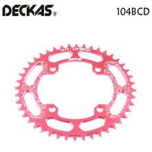 Deckas coroa para bicicleta 104bcd 40/42/44/46/48/t, roda dentada oval para mountain bike mtb coroa larga estreita de alumínio bcd 104 oval