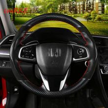 DIY Carbon fiber Leather steering wheel cover For Honda Civic 10th Crider 19 CRV