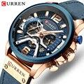 Спортивные часы CURREN  мужские роскошные часы с секундомером  кожаные  военные  кварцевые  водонепроницаемые