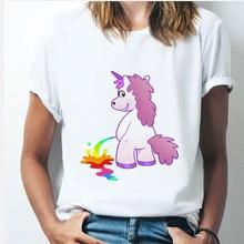Rainbow Unicorn tshirt 90s Women Harajuku Kawaii Ullzang White tshirtShort Sleev