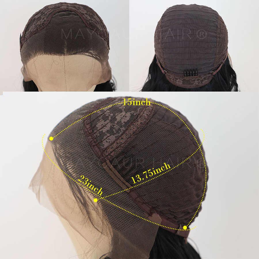 Maycaur Korte Bob Bruin Synthetische Lace Front Pruiken Voor Vrouwen Zwart Bruin Golvend Haar Pruik Met Natuurlijke Baby Haar