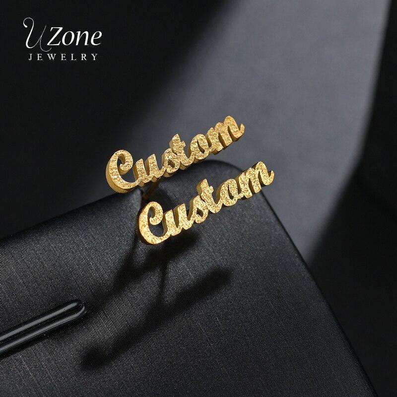 UZone 1 Pair Custom Frosted Name Stud Earrings Stainless Steel Personalized Nameplate Letter Earrings For Women Girls Brincos