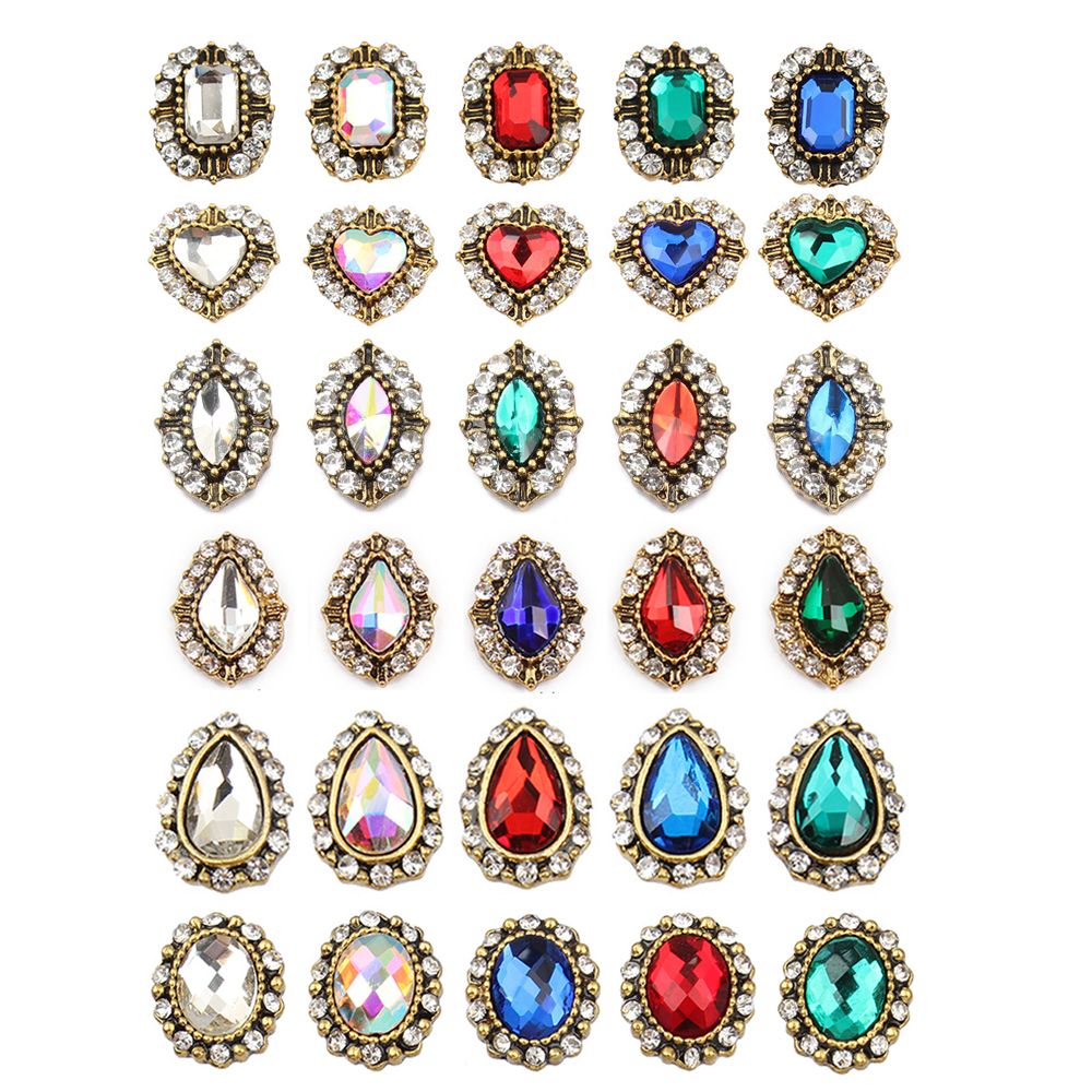 10 Pcs/Lot rétro alliage ongles charme cristal diamants pierre strass nail art décorations bijoux accessoires strass nouveauté