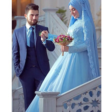 2019 Elegant Long Sleeve Muslim DressIs lamic With Hijab Blue High Neck Gelinlik Blue Lace Robe De Mariee Bridal Gowns in Dubai(China)