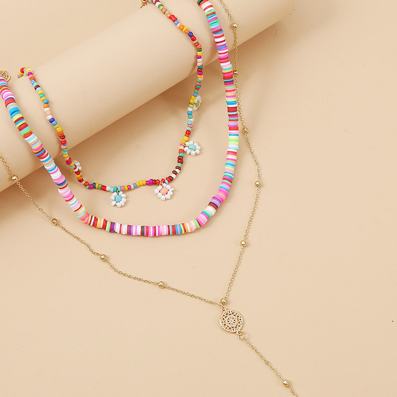Ant Angel Bohemian Hand-woven Beaded Necklace Korean Sweet and Colorful Daisy Shell Pendant Female Girl Jewelry