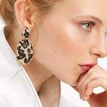 HOCOLE Vintage Leopard Drop Earrings For Women Za Brand Boho Geometric Gold Long Pendant Dangle Earring Fashion Jewelry 2019