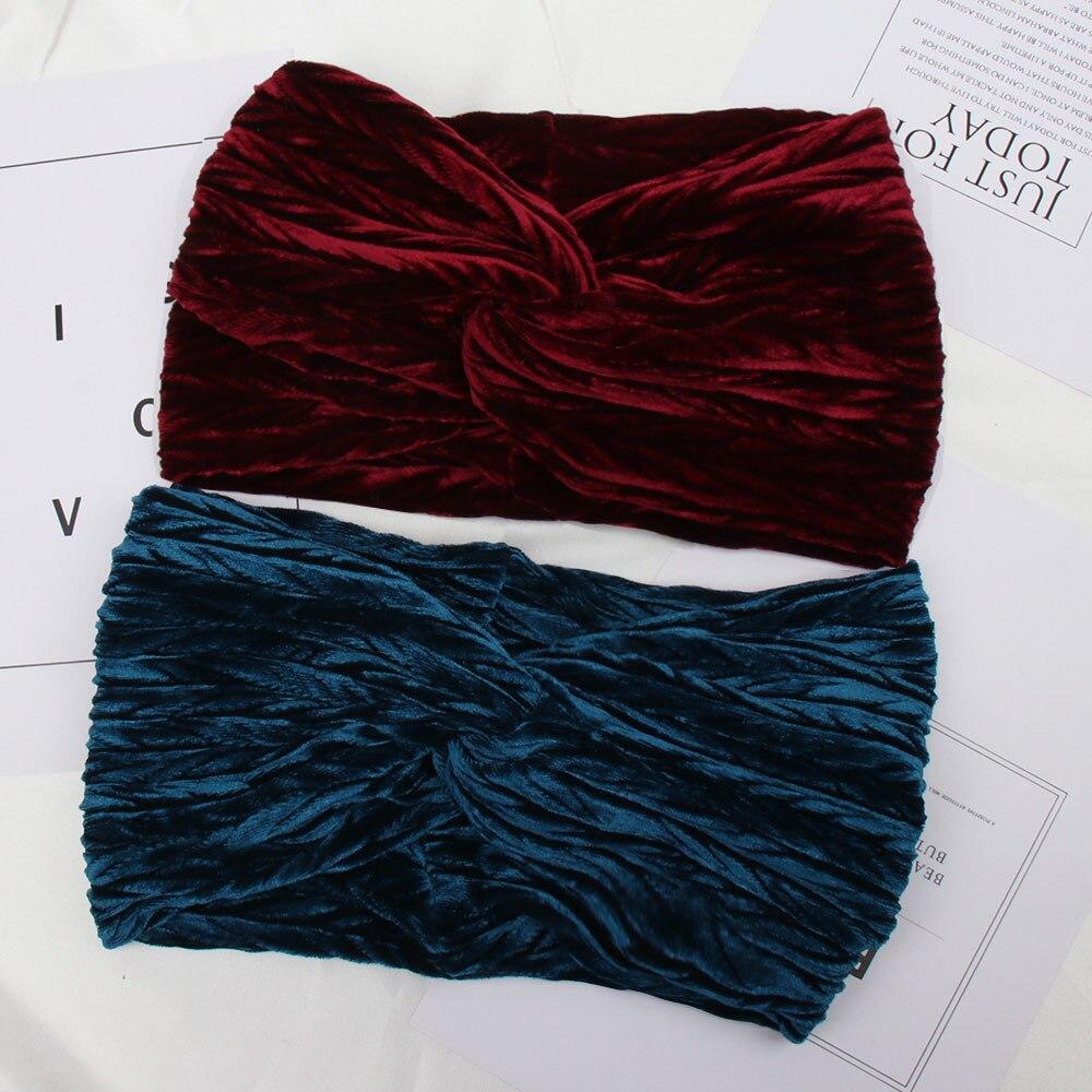 Hair Accessories Solid Color Cross Women Headband Turban Autumn Winter Velvet Ladies Hairband Clearance Headwear