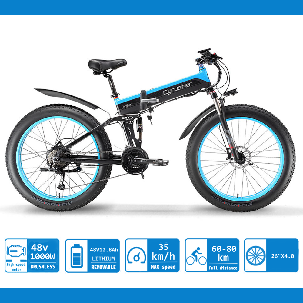 Fat Tire Folding Electric Bike Removable Lithium Battery Beach Snow Bicycle 26 Ebike 48V 8Ah 350W 500W 1000W Electric Moped Electric Mountain Bicycles