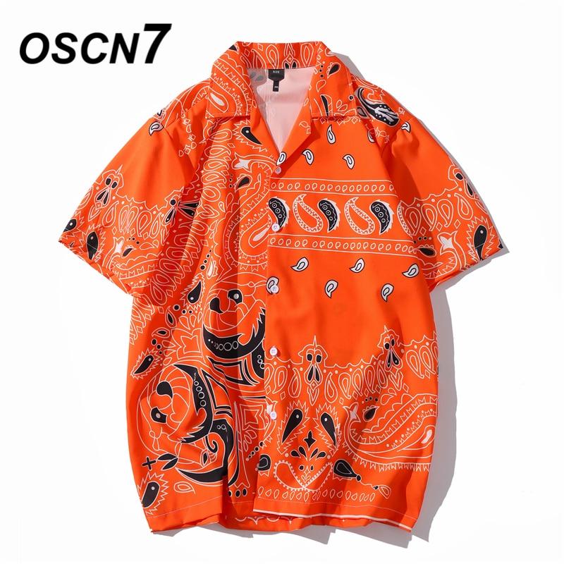 OSCN7 Casual Ethnic Printed Short Sleeve Shirt Men Street 2020 Hawaii Beach Oversize Women Fashion Harujuku Shirts For Men XQ93