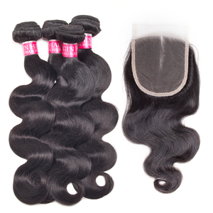 Image 1 - wholesale Body Wave 3 4 Bundles With Closure Peruvian Brazilian hair weave bundles with closure Human Hair Bundles With Closure