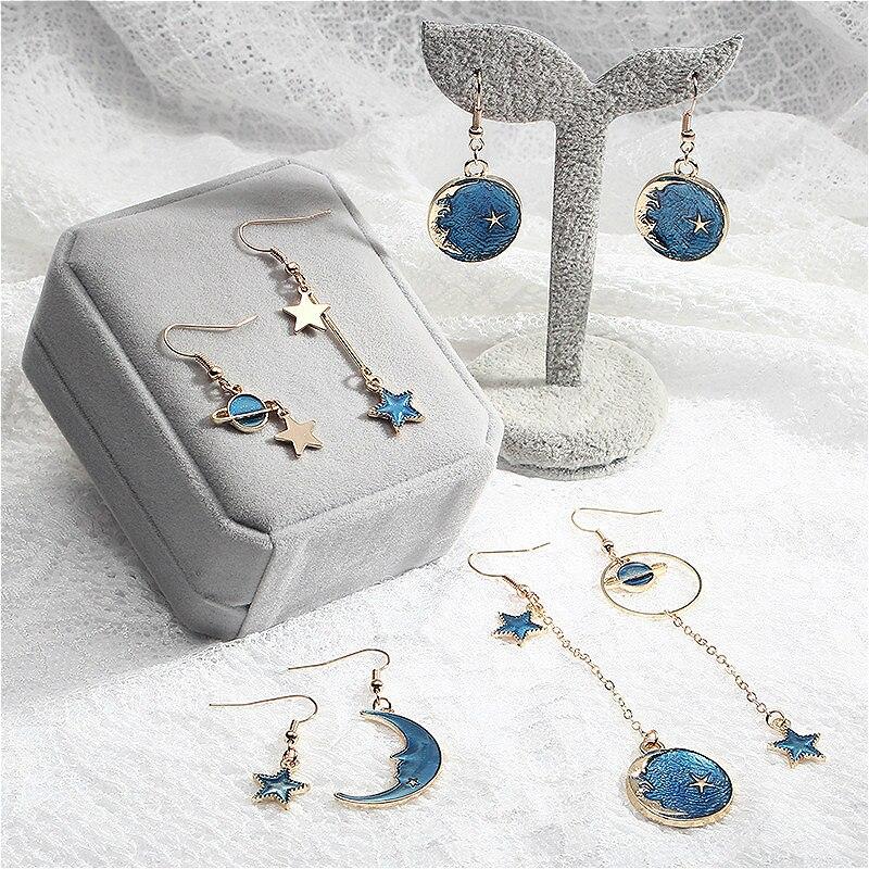 Новинка 2020, модные серьги-кольца, милый простой Асимметричный кулон с голубым/луной/звездным небом и длинным отсеком, подарок для женщин
