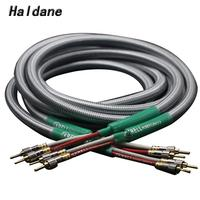 Haldane Pair HIFI Golden Plated Banana Plug Cable Speaker Audio Cable Audiophile OFC &silver Krell Speakon Wire Cables