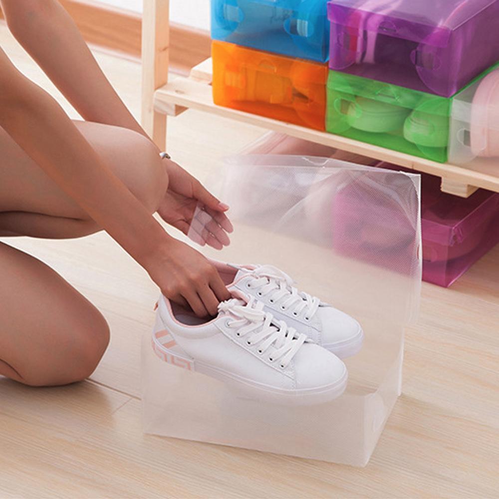 5Pcs Ladies / Children Transparent Plastic Shoe Storage Box Cosmetic Box Folding Shoe Rack Color Shoe Box Flip Shoe Box