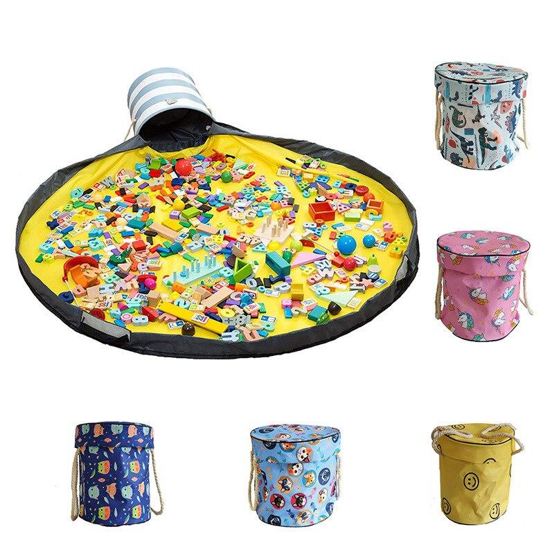 Crianças brinquedos saco de armazenamento portátil grande jogo esteira rápida limpar balde brinquedo ordenação à prova dwaterproof água organizador drawstring container