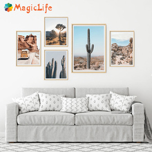 Desert Cactus wall art canvas painting Nordic Landscape Nature Joshua Tree pictures posters and prints Living Room unframed