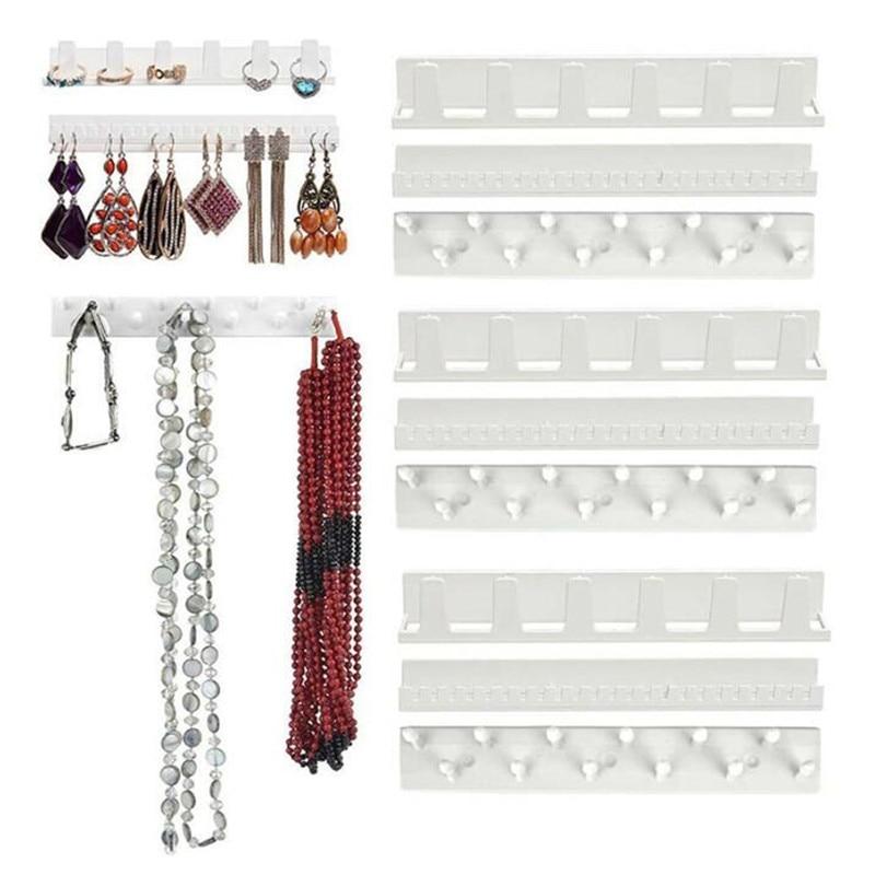 9pcs/set  Adhesive Jewelry Display Hanging Earring Ring Hanger Holder Rack Sticky Hooks Storage Holder Organizer Display Stand