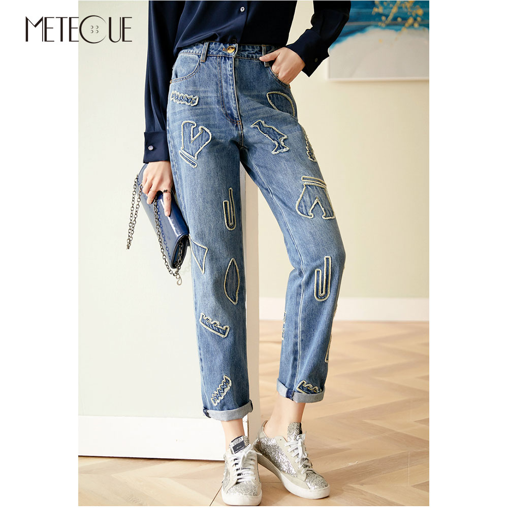 Fashion Patchwork Women Jeans 2019 Pre Fall High Waisted Jeans Blue Color Women Trousers 2019 Autumn Winter