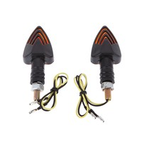 Hot 2pcs 12v Mini Motorcycle Motorbike Turn Signal Indicators Arrow Carbon Amber Light| |   -