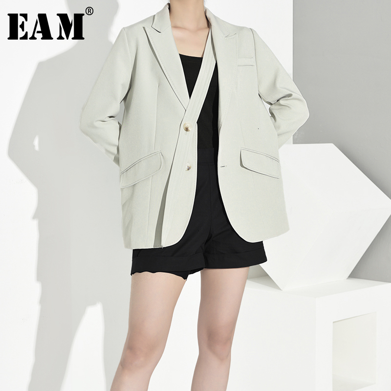 [EAM]  Women Bandage Spliced Big Size Blazer New Lapel Long Sleeve Loose Fit  Jacket Fashion Tide Spring Autumn 2019 1B76706