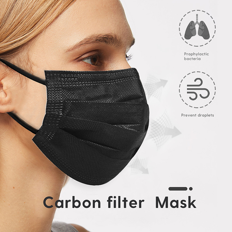 50pcs 3 Layer Non-woven Dust Mask Thickened Disposable Mouth Mask Carbon Filter Mask