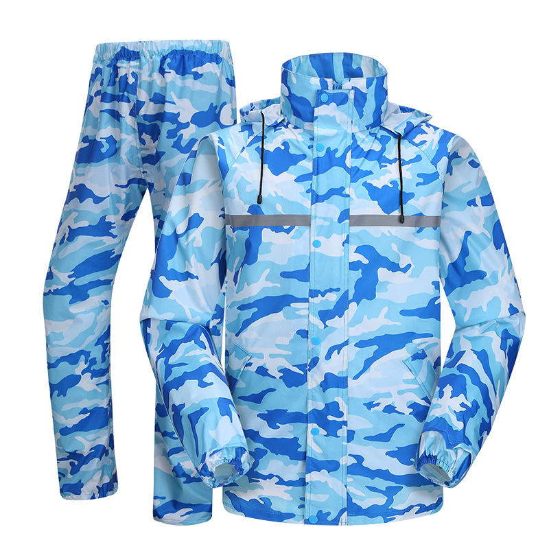 Blue Raincoat and Rain Pants Men Camouflage Regenjas Rain Wear Transparent Brim Motorbike Rain Jacket Women Men Rain Coat title=