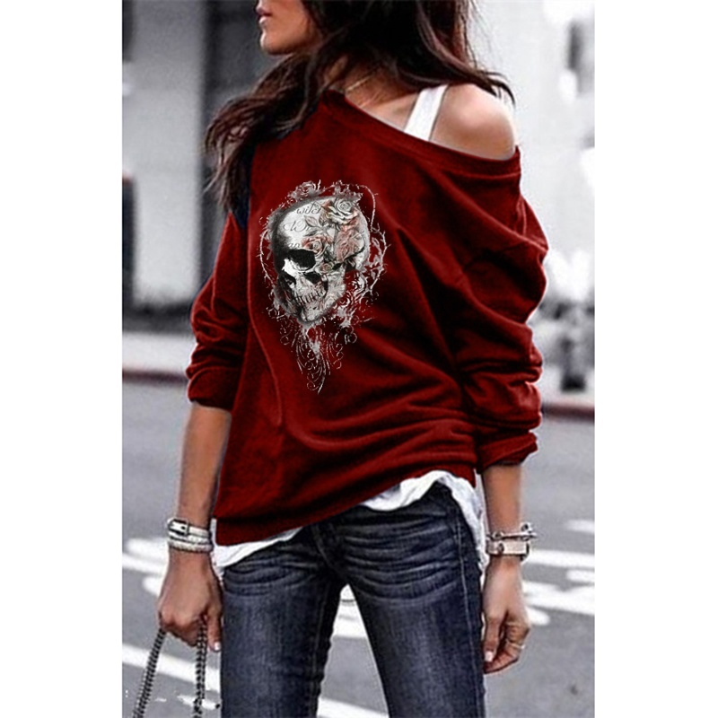 WEPBEL 5 Colors Women One-shoulder Sweatshirts Sweatshirt Gothic Long Sleeve Tee Shirt Skull Printed Pullover Tops S-5XL