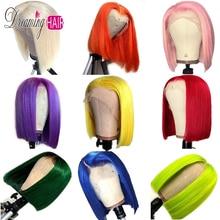 13x6 синего Синтетические волосы на кружеве человеческие волосы парики предварительно вырезанные 613 Мёд фиолетовый зеленый темно-желтый эффектом деграде(переход от темного к Цветной парики из натуральных волос