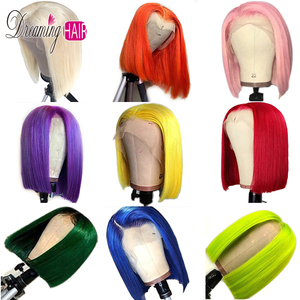 150% 13x6 Pink Bob Lace Front Human Hair Wigs Pre Plucked 613 Blonde Purple Green Grey Yellow Ombre Colored Human Hair Wigs(China)
