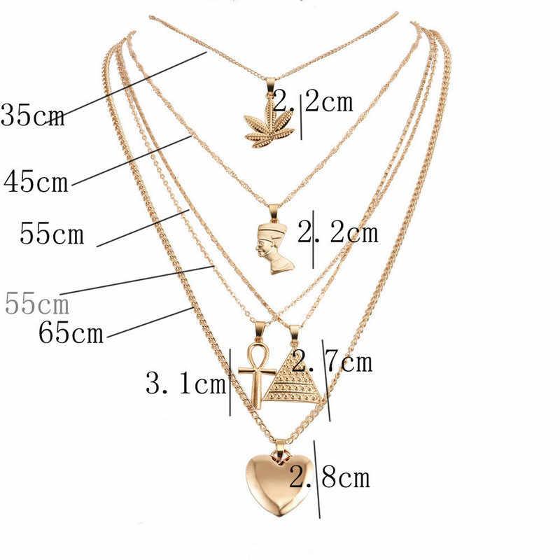 Модная классика крест сердце треугольник многослойное колье-чокер ожерелье для женщин Vinatge Дамский воротник многослойное ожерелье s Bijoux