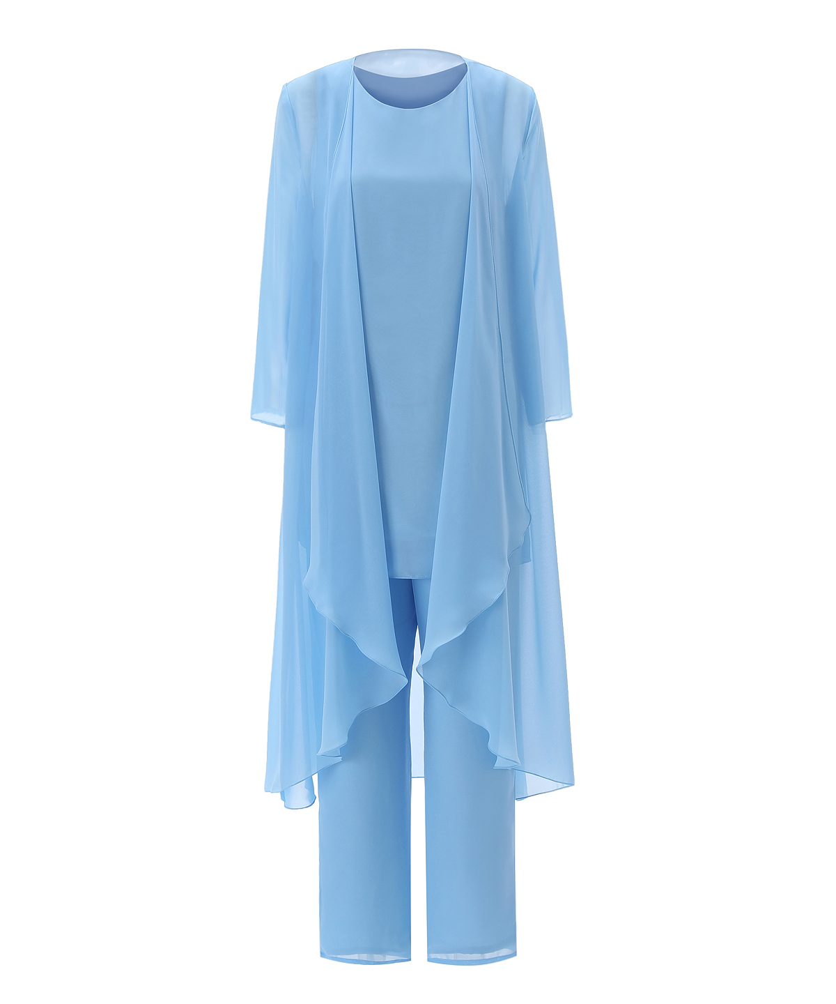Long Sleeves Tea Length Outfit Jacket 3 Pieces Mother Of The Bride Dress Pant Suits Womens Chiffon Solid Simple Blue Set Suit