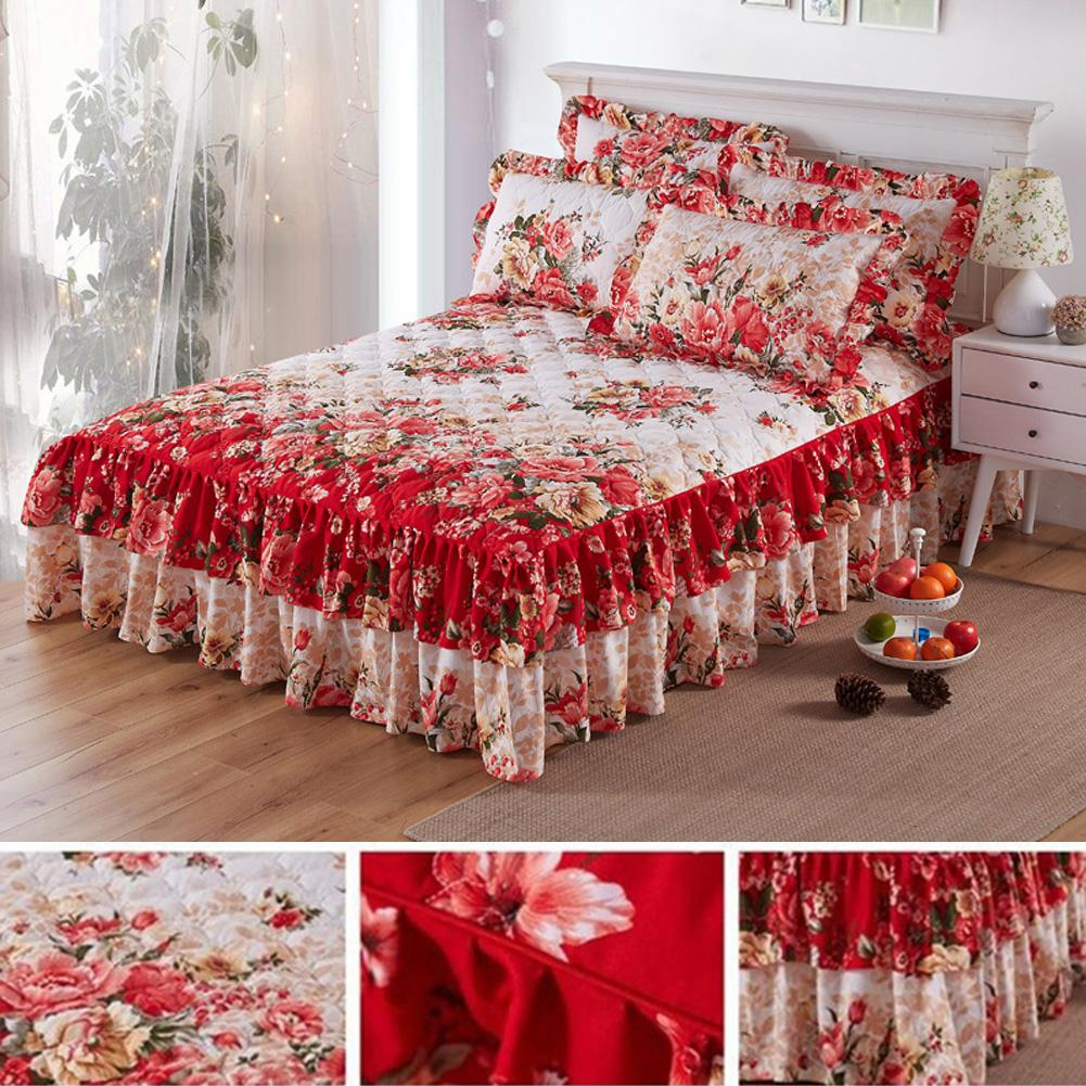 Ethnic Flower Pattern Polyester Ruffled Bed Skirt Bedclothes Sheet Queen King Bedding Bedspread Home Romantic Wedding Bed Decor