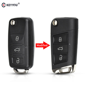 KEYYOU Modified Flip Remote Key Shell For Volkswagen VW Polo Passat B5 Golf MK5 Beetle 3 Buttons Replacement Car Key Cover