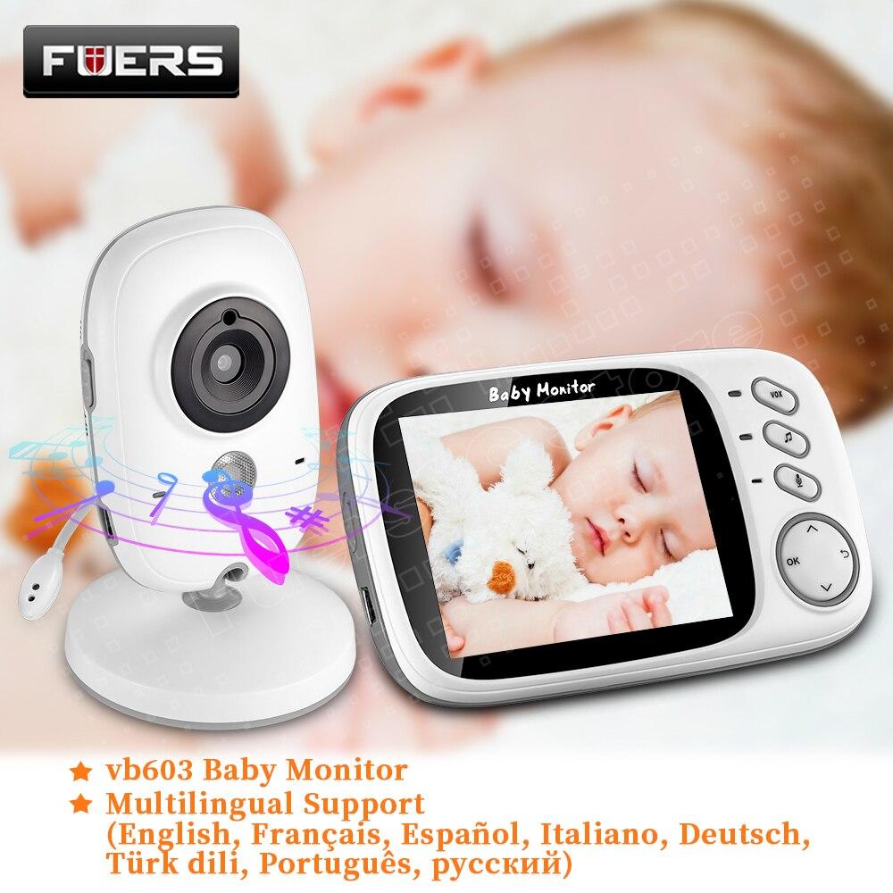 Moniteur vidéo couleur pour bébé VB603 | Caméra de sécurité pour nounou, prise en charge de la température en 8 langues, moniteur de température, nouvelle collection