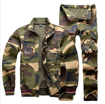Professional Outdoor Breathable Hunting Clothes Winter Men Fleece warm windproof Camouflage Hunting training Jacket pant Suits breathable jungle bionic camo clothes wild hunting suits for hunter oem factory