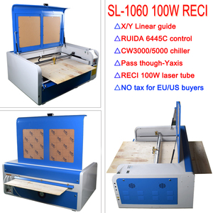 Upgrade Laser CNC 1060 engraver machine RECI 100W co2 laser engraving cutting machine RD6445C X/Y linear guide NO TAX for EU
