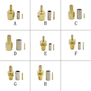 SMA Male / RP SMA Male Plug / SMA Female / RP SMA Female Jack Crimp Connector Gold plated Brass Coaxial Solder Cable Adapter