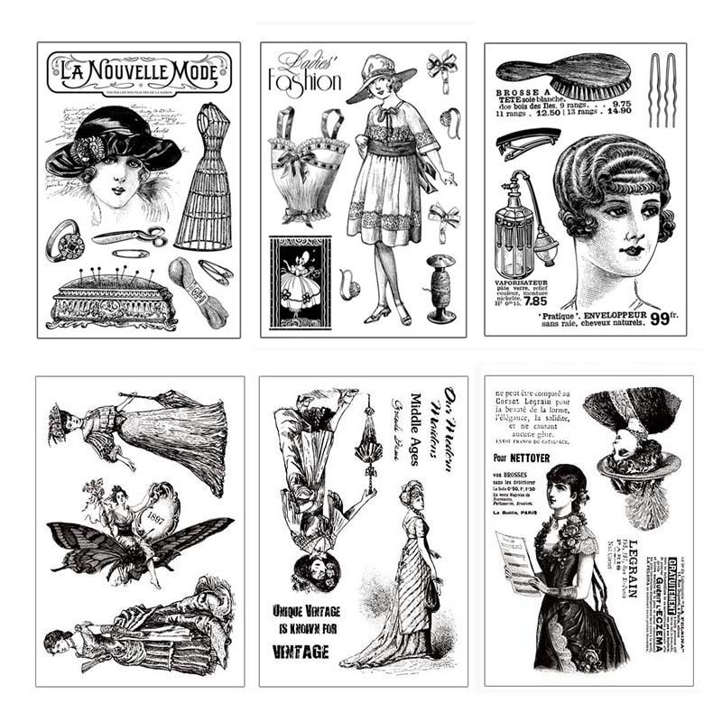 Sellos transparentes Vintage para mujer, sellos de silicona transparentes hechos a mano DIY para mujer, sello adhesivo de goma para álbum de recortes, adornos para manualidades|Sellos|   - AliExpress