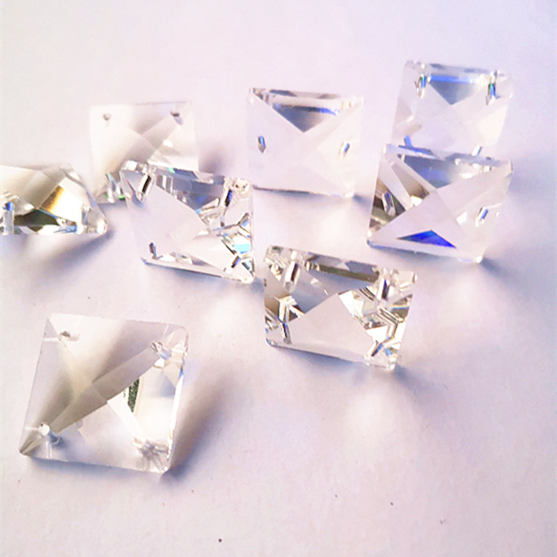 200pcs 4Holes 14mm Clear Square Crystal Beads Prisms Chandelier Lamp Chain Parts