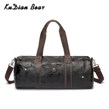 KUDIAN BEAR Portable Men Travel Bag Handbag Large Capacity Crossbody Bags PU Leather Waterproof Shoulder Bags BIG043 PM49