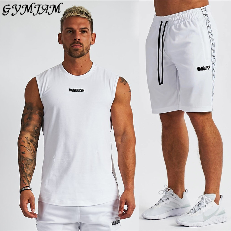 Cotton Men's Clothing 2020 Summer Men's Sportswear Brand Men's Sleeveless Vest With Fashionable Men's Shorts Fitness Men's Suit