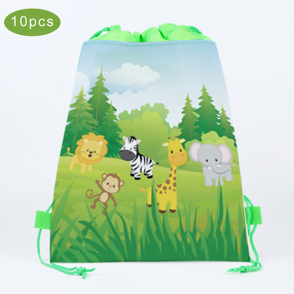 10pcs Jungle Theme Party Gifts Bags 34X27cm Candy Bags Green Safari Animals Packing Non-woven Backpack Kids Party Decorations
