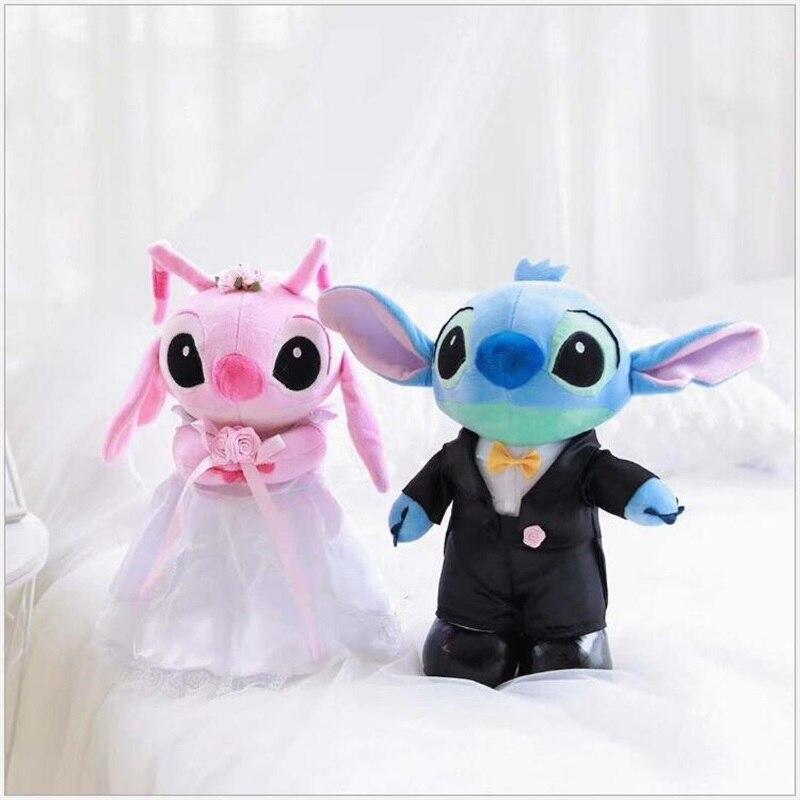 Kawaii Cartoon Wedding Dress Stitch Plush Kids Toys Stuffed Animals Home Wedding Decoration Christmas Valentine Gifts