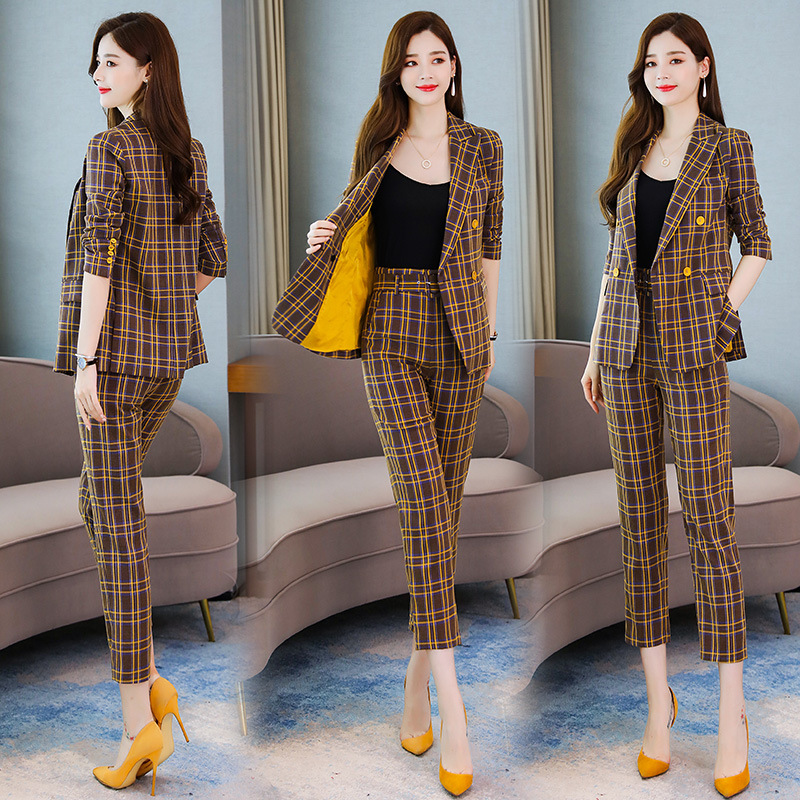 High quality professional women's suits New autumn slim long-sleeved plaid ladies jacket Casual office trouser suit Two-piece 28