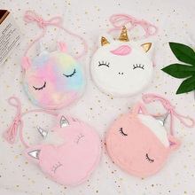 Bag Circle Unicorn Embroidered Plush Kids Cartoon Crossbody-Bag Clutch Cute Winter Fur