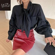Ladies Tops 2020 Lantern Sleeve Solid Cute Bow Tie Collar Casual Blouse Women Korean Street Style Single Breasted Pocket Shirts 2019 hot sale spring women shirts tops long sleeve bow collar solid ladies chiffon blouse tops ol office style chemise femme