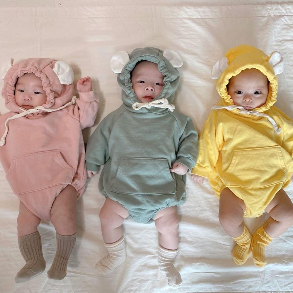 MILANCEL 2020 Spring New Baby One Piece Candy Color Baby Bodysuits Bear Ear Toddler Girls Boys Clothes