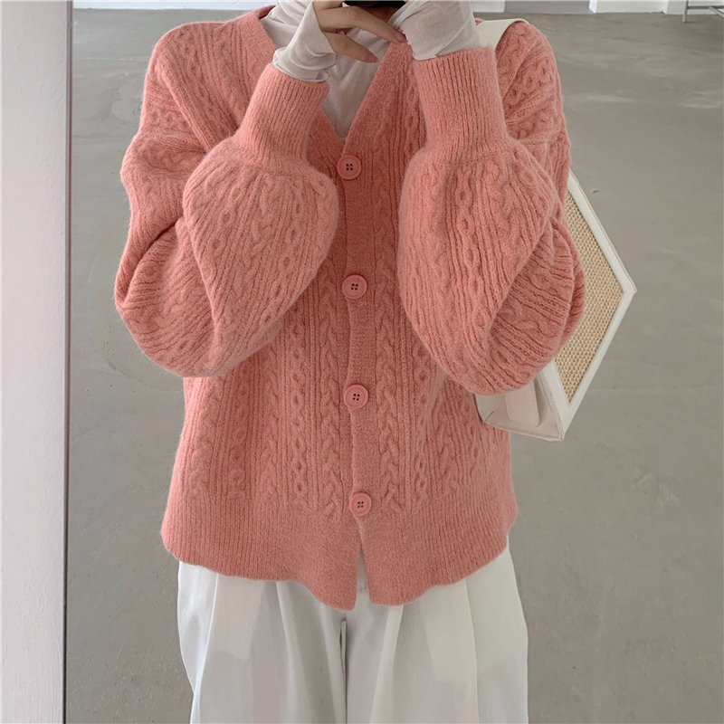 HziriP Elegant New 2020 Women V-Neck Gentle Cute Chic All-Match High Quality Fashion Knitted Lantern-Sleeved Cardigans Sweater